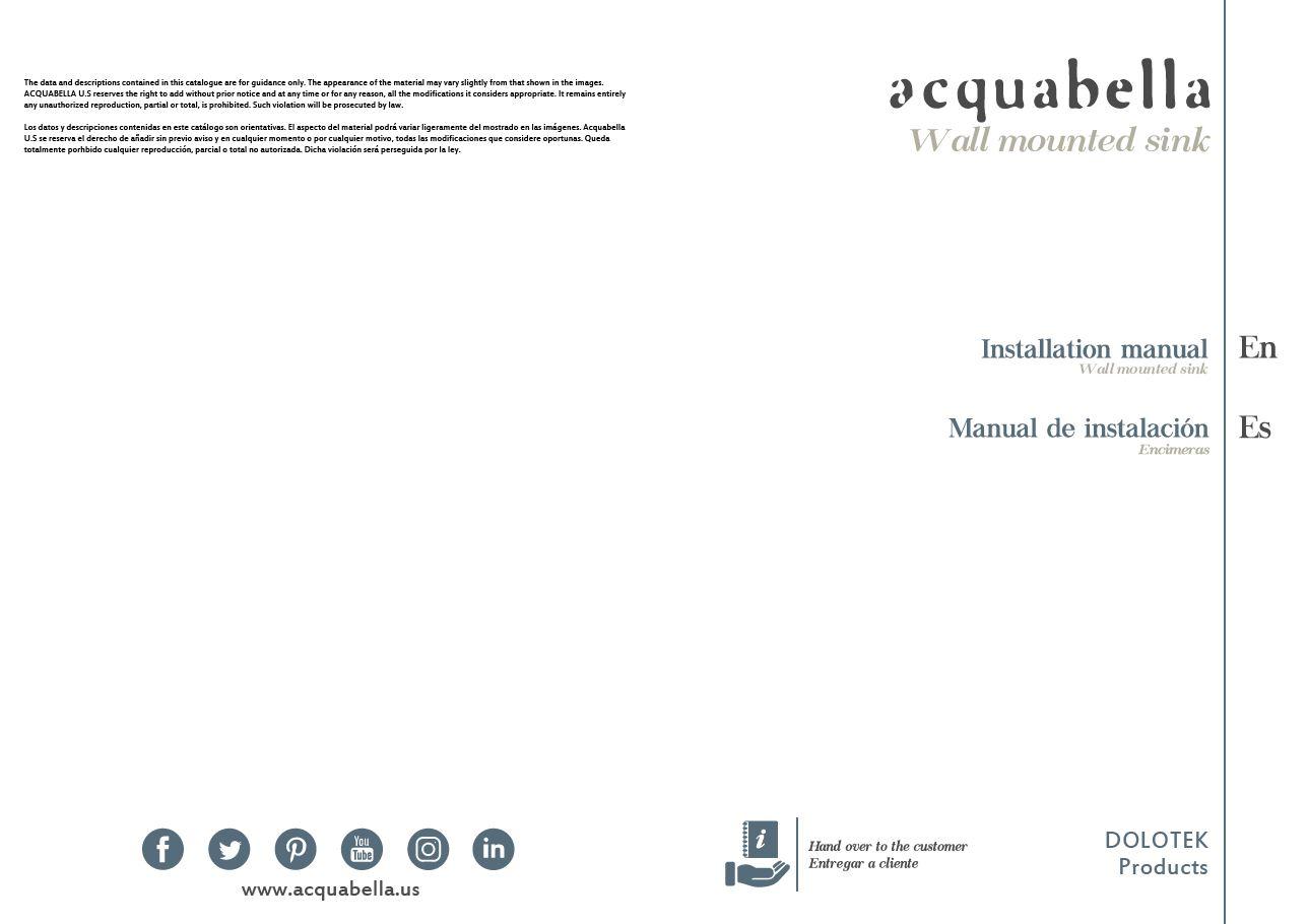 INSTALLATION MANUAL – DOLOTEK WALL-MOUNTED SINKS